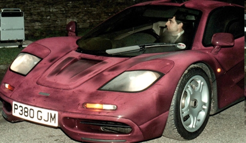 Rowan Atkinson, AKA Mr. Bean, in his McLaren  F1 before the crash