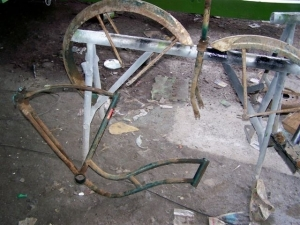 Before: the rusted Hawthorne frame, forks and mudguards