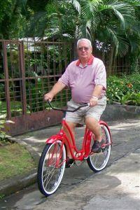 The writer on his restored  Hawthorne American bike