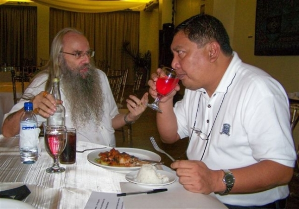 Vice Mayor Sayson samples a glass of cranberry wine made  by Scottish wine maker Nick Scarborough