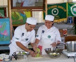 ICA students Gabino Cuñada and April Lobaton showing their skills with a special garden salad