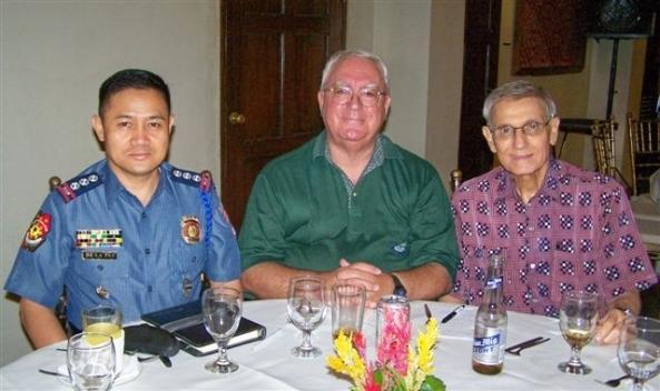 (l-r) BCPO Director Senior Supt. Ricardo De La Paz, Robert Harland,  British Embassy Warden for Negros Occidental and Rene Adad,  former Philippine Football Federation president