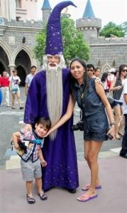 Robert Jr and mum Stessie meet a wizard at Disneyland