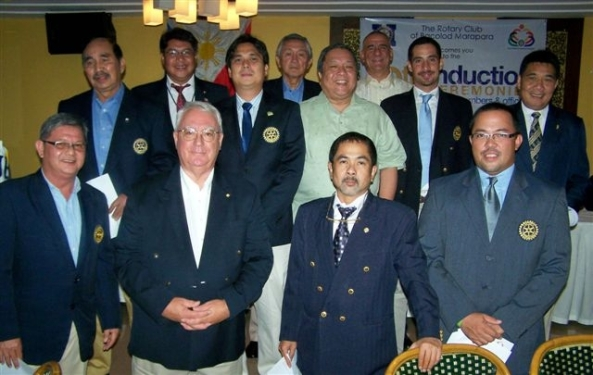 Rotary Club of Bacolod Marapara - new officers and directors Rotary year 2011/2012. Eduardo Coscolluela, outgoing president Maximo Javelona, incoming president Jose Rico Cajili, Emilio Infante, inducting officer David Villanueva, Paul Felton, Felix Manuel Trebol, Remegio Montemayor (l-r back row). Frederico Locsin, Robert Harland, Jose Miguel Montinola, Fidel Henares  (l-r) front row