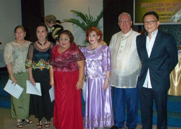 New BCF officers (l-r): Emilie Zayco, Charito Parreño, President  Suzette Lacson, Violeta Caram, NDB writer Robert Harland with  inducting officer, Rep. Dr. Anthony Golez, Jr