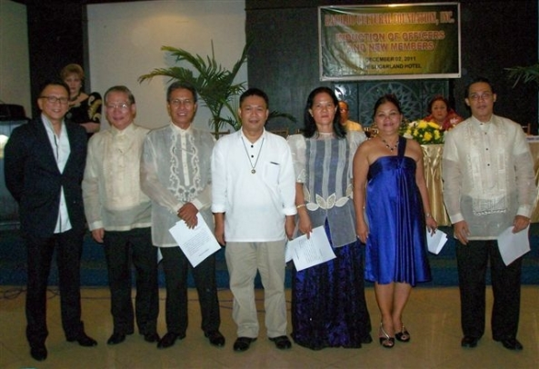 New BCF members with inducting officer Rep. Dr. Anthony Golez, Jr  (l-r) Eduardo Suatengco, Jonathan Fortu, Jorge Mission, Noemi Yoro,  Fanny Balenia, Eli John Gumabong