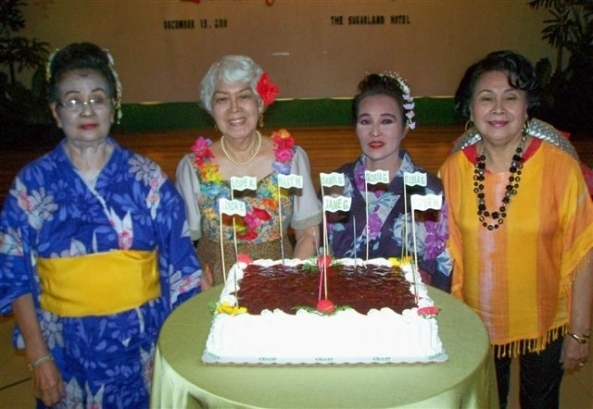 Negros Occidental Garden Club December birthday celebrators at the club's Christmas party at the Sugarland Hotel in Bacolod City on Tuesday (l-r) Lorrie Baliguas, Ester Monfort, Daisy Lim & Linda Yulo