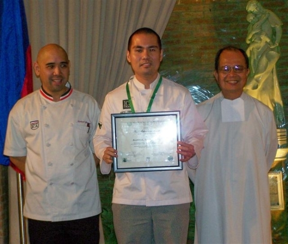 Top honors in Batch 7 went to Juanito Singbenco pictured here with Br. Ray Suplido FSC president and chancellor of USLS  (right) and ICA director Chef Richard Ynayan