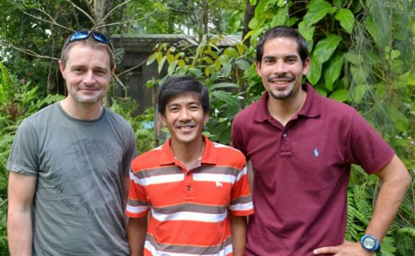 NIBE leader James Sawyer (left) with two members of the team James Benares,  mountain leader and Dr. Neil D'Cruze, research leader.