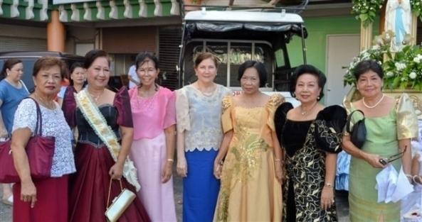 BCFI members and officers: (l-r) Nina Comia,  Beverly Bautista (Hermana Mayor), BCFI president Araceli Mirano, Emilie Zayco, Evelynda Gerogalin, Celia Ferrer, Pacita Adeva