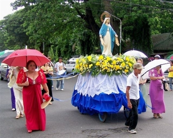 The Blessed Virgin Mary being escorted by members of the Bacolod Cultural Foundation