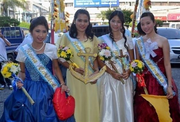 Maricris Butantan, Reina Caridad; Cindy Tempbrevilla, Reina Esperanza; Febelyn Sagje, Reina Fe;Janice Javier, Reina Banderada: