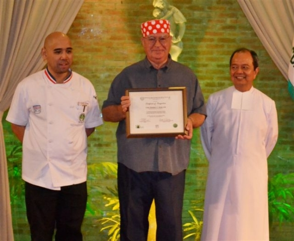 Robert Harland, NDB features writer, chef and former graduate from the Institute for Culinary Arts at the University of St. La Salle, received a special citation from the university on Wednesday for winning a silver medal for the Philippines in the 2012 World Marmalade Championships in England in February. Pictured with (l-r) ICA director Chef Richard Ynayan and Br. Ray Suplido, USLS president and chancellor