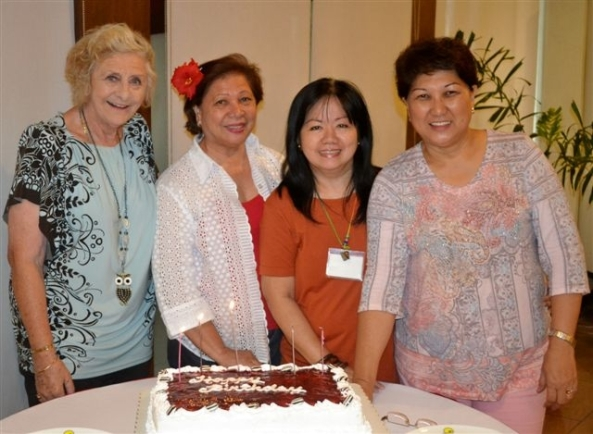 Negros Occidental Garden Club June birthday celebrators at the club's monthly meeting at the Pavillon Hotel on Saturday (l-r) Hazel Stuart, Yoly Kilayko, Jane Lizares, Hazelyn Guerrero 1 Attached file| 174KB
