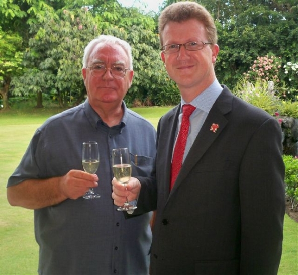 A toast to Queen Elizabeth 11. British Ambassador, HE Stephen Lillie (right) hosted a reception at his home in Forbes Park, Makati City, on Monday, to celebrate the Queen's Diamond Jubilee. Among the guests was Robert Harland (left) NDB features writer and the British Embassy Warden for Negros Occidental.
