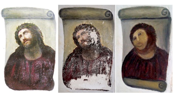 "Three versions of Elías García Martínez's 'Ecce Homo"", (l-r) the original, the deteriorated version and how it looked after the botched restoration"