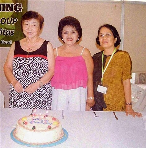 Negros Occidental Garden Club August birthday celebrators at the club's recent monthly meeting at the Pavillon Hotel (l-r) Baby Gonzaga, Edith Robillo, Olivia Fos.