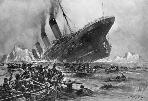 An artist's impression of the titanic sinking