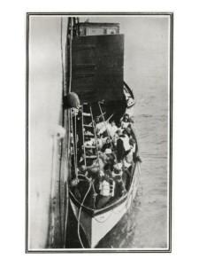 Titanic survivors coming aboard Carpathia