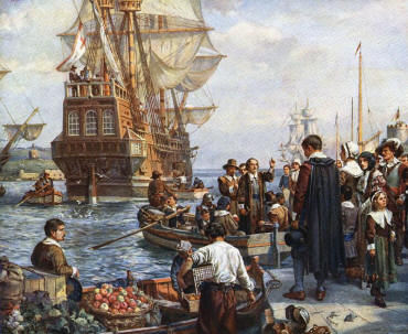 The Mayflower leaving Southampton in 1620