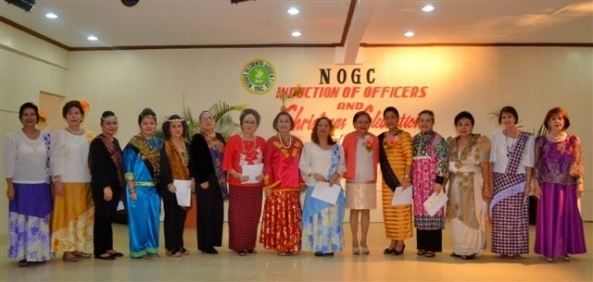 The 2013 Negros Occidental Garden Club board (l-r) Tessie Aplaon, special projects; Lita Cruz, special events; Luisa Javellana, media support; Jane Lizares, 2nd assistant secretary; Emma Lipa, 1st assistant secretary; Zenaida Guzon, secretary; Daphne Javelosa, 2nd assistant treasurer; Ilde Guerrero 1st assistant treasurer; Carissa Maalat, 1st vice president; Hon. Cynthia Villar, inducting officer; Lourdes Mercado, president; Gigi Flores, 2nd vice president; Celia Ferrer, treasurer; Necena Ong, auditor; Viol Caram, PIO.