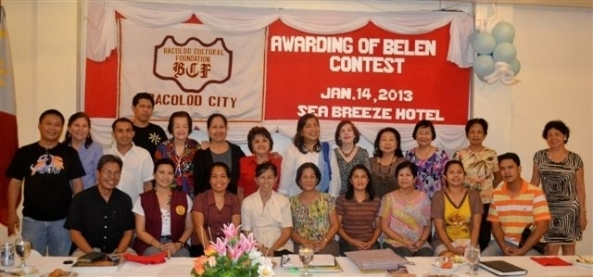Winners of the Bacolod Cultural Foundation's 2012 Belen Contest received cash prizes at an awards ceremony at the Sea Breeze Hotel on Monday. Winner in the Most Creative and Innovative category was the San Antonio Abad Church, Taculing. The award for the Most Symbolic Belen went to St. Joseph the Worker, Dona Juliana Heights. And the winner for the Most Artistic Belen was St. Isidore Parish Church in Tangub. Pictured are members of the Foundation with representatives from the winning churches.