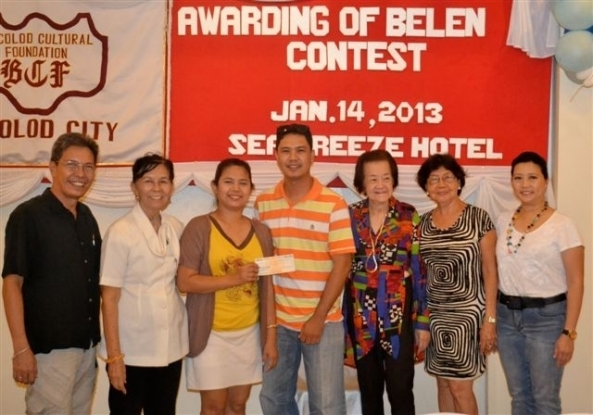 Diana Rose and Mymy Alasaban (3rd and 4th right), representing St. Isidore Parish Church in Tangub, received a cash prize from the Bacolod Cultural Foundation (BCF) at an awards ceremony at the Sea Breeze Hotel on Monday. The church won the Most Artistic category in the BCF's 2012 Belen Contest. Witnessed by Foundation members (l-r) Arch. Jonathan Fortu, president Aracli Mirano, Angie Echaus, Pacita Adeva and Elsie Coscolluela.