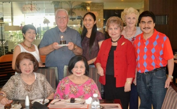 British national and Bacolod resident, Hazel Stuart, hosted a lunch for fellow-Brit, Robert Harland, on Tuesday at L'Fisher Hotel to celebrate his 66th birthday with friends. Bacolod City Mayor Evelio  Leonardia also dropped by to wish the celebrator a happy birthday. (l-r standing) First Lady Elsa Leonardia, Robert Harland, Stessie Hecita, Ivy Visitacion, Hazel Stuart, Mayor Evelio Leonardia (l-r seated) Ninfa sand Perla Leonardia.