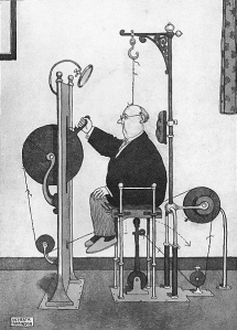 Heath Robinson's special chair for removing warts from the head