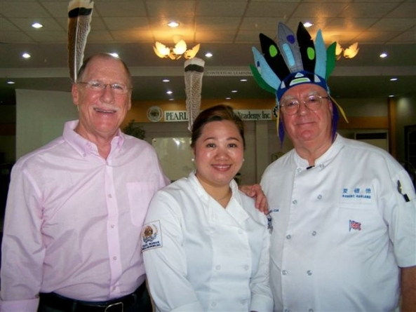 Local British chef and NDB contributor Robert Harland (right) at the taping on Friday of the latest episode of his TV cooking show, Culinary Travels, which is produced by Amazing Planet of Iloilo and aired throughout the  Western Visayas on SkyCable. This new episode features Native American Indian cooking; the first time it's believed this type of cuisine has been featured on television in the Philippines. Pictured with him are (l-r) special guest, New Yorker Craig Scharlin, and guest chef, Shangri-La Chua, president of the Pearl Mansions Skills Academy in Bacolod City.