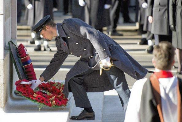 Prince William lays a wreath at Cenotaph in London