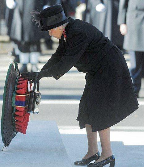 Queen Elizabeth lays a wreath in memory of those who have made the ultimate sacrifice