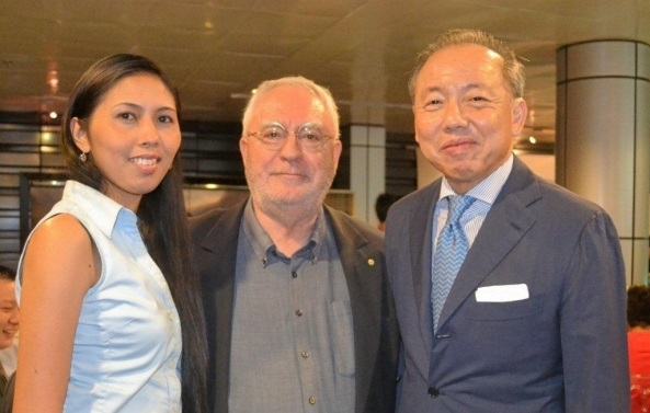 At the birthday party. PGA Cars chairman Robert Coyiuto Jr. (right) with Bacolod guests Chef Stessie Hecita and SunStar writer Robert Harland.