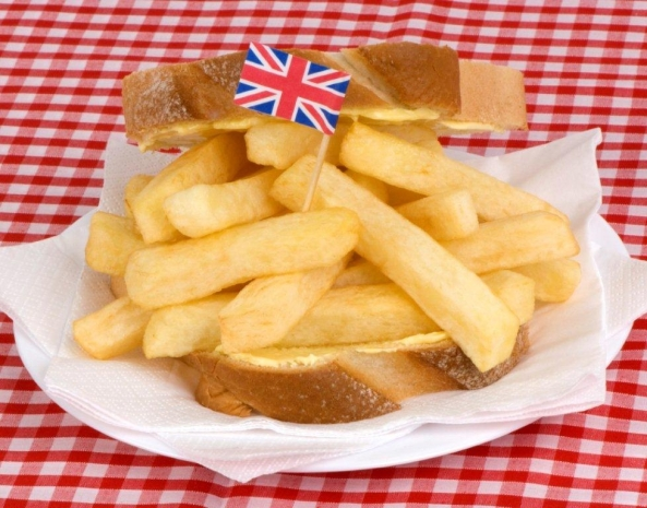 A British 'delicacy' - a French fry sandwich. AKA a 'chip butty'