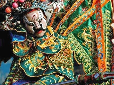 A painted 'mal' face, or 'Jing', in a Peking Opera play
