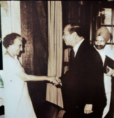 Rafael M Salas with former Indian Prime Minister Indira Gandhi